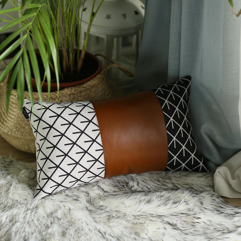 Reverse Black and White and Brown Faux Leather Lumbar Pillow Cover - 386781. Picture 3