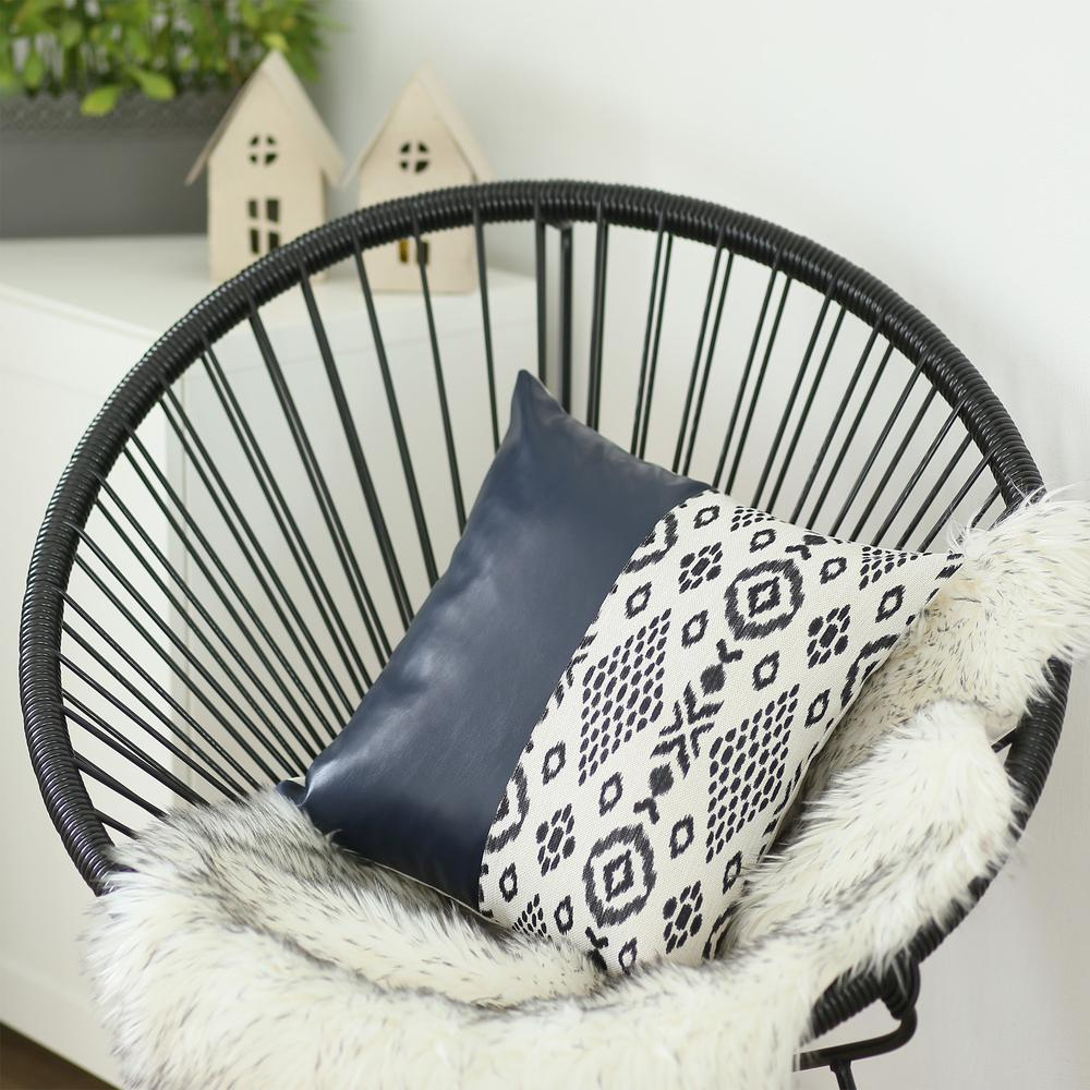 Bisected Eclectic Patterns and Spruce Blue Faux Leather Lumbar Pillow Cover - 386782. Picture 2