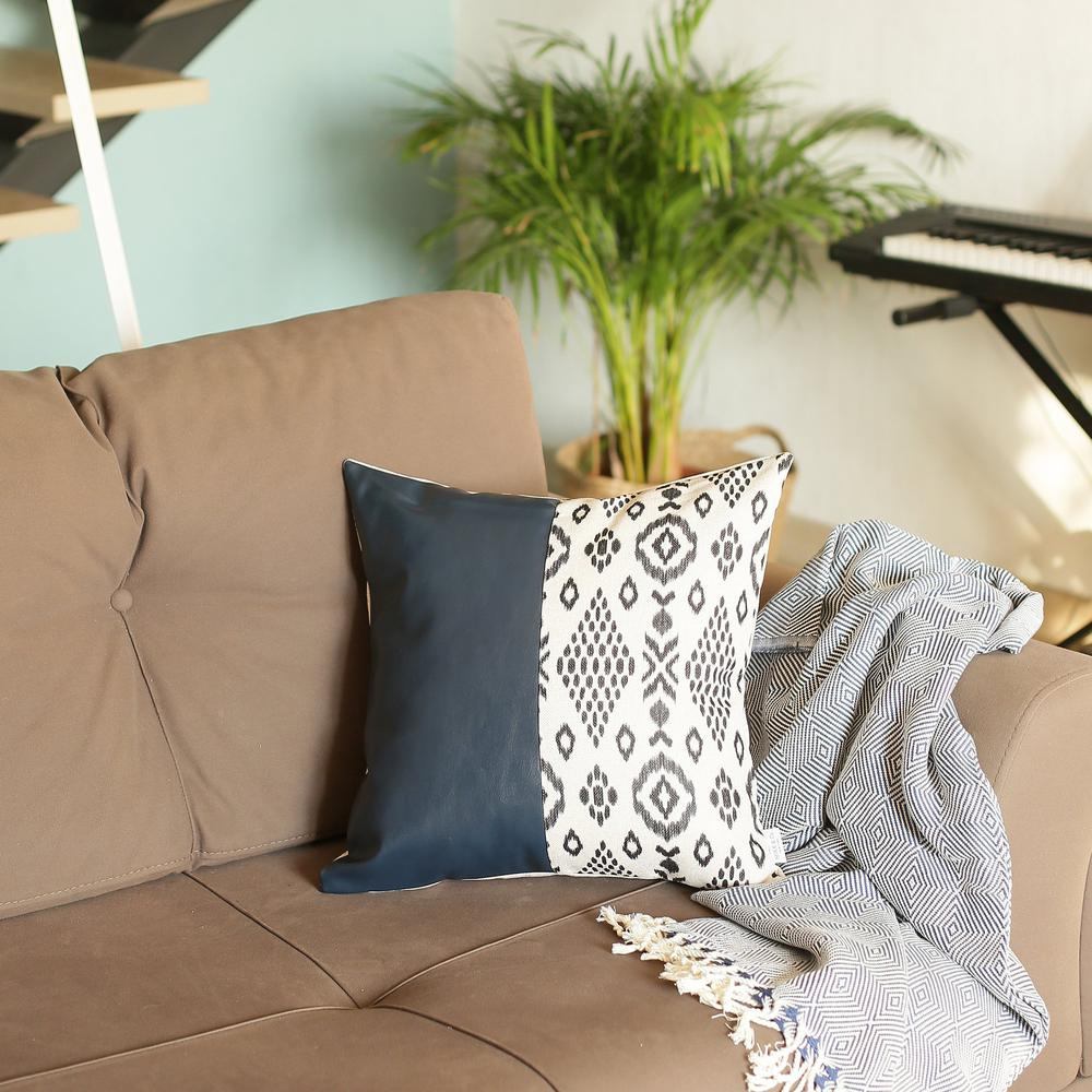 Bisected Eclectic Patterns and Spruce Blue Faux Leather Lumbar Pillow Cover - 386782. Picture 3