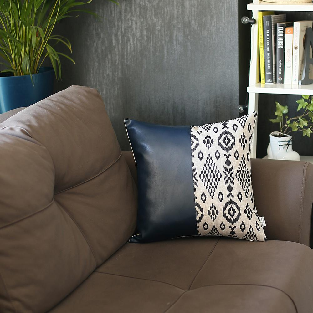 Bisected Eclectic Patterns and Spruce Blue Faux Leather Lumbar Pillow Cover - 386782. Picture 4