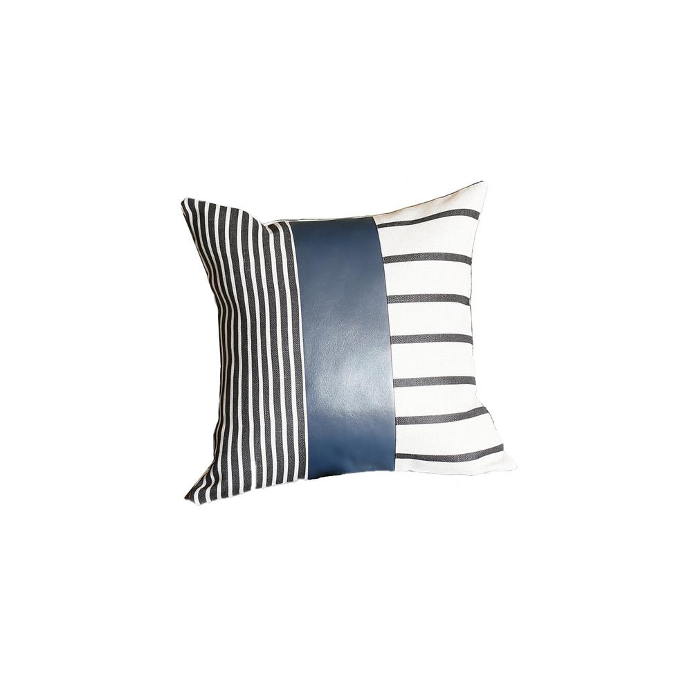 Traditional Navy Blue Faux Leather and Monochromatic Stripes Lumbar Pillow Cover - 386784. Picture 1