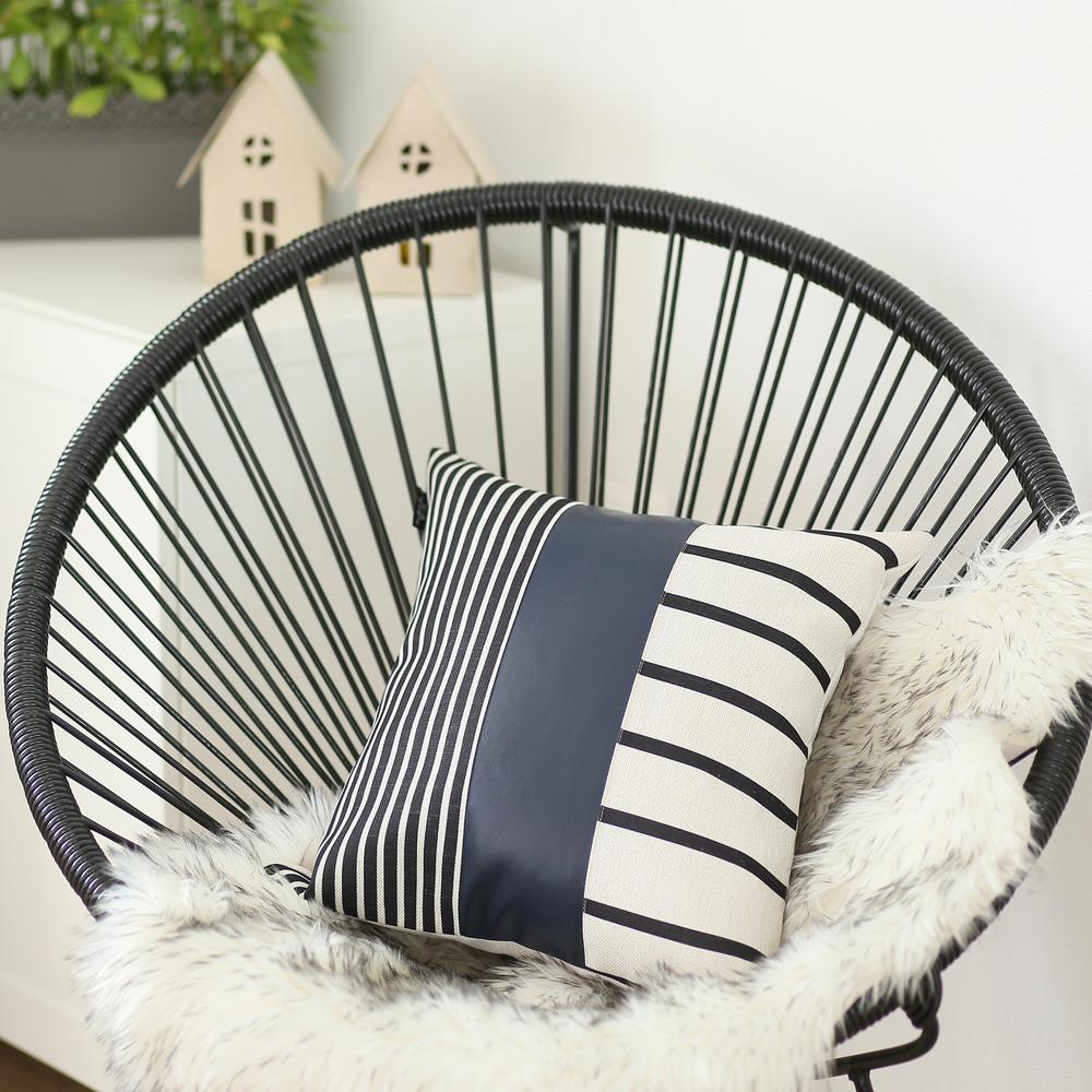 Traditional Navy Blue Faux Leather and Monochromatic Stripes Lumbar Pillow Cover - 386784. Picture 2