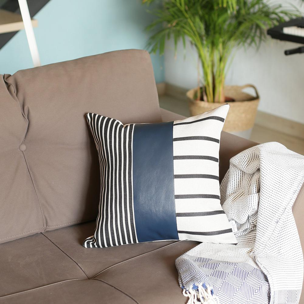 Traditional Navy Blue Faux Leather and Monochromatic Stripes Lumbar Pillow Cover - 386784. Picture 3