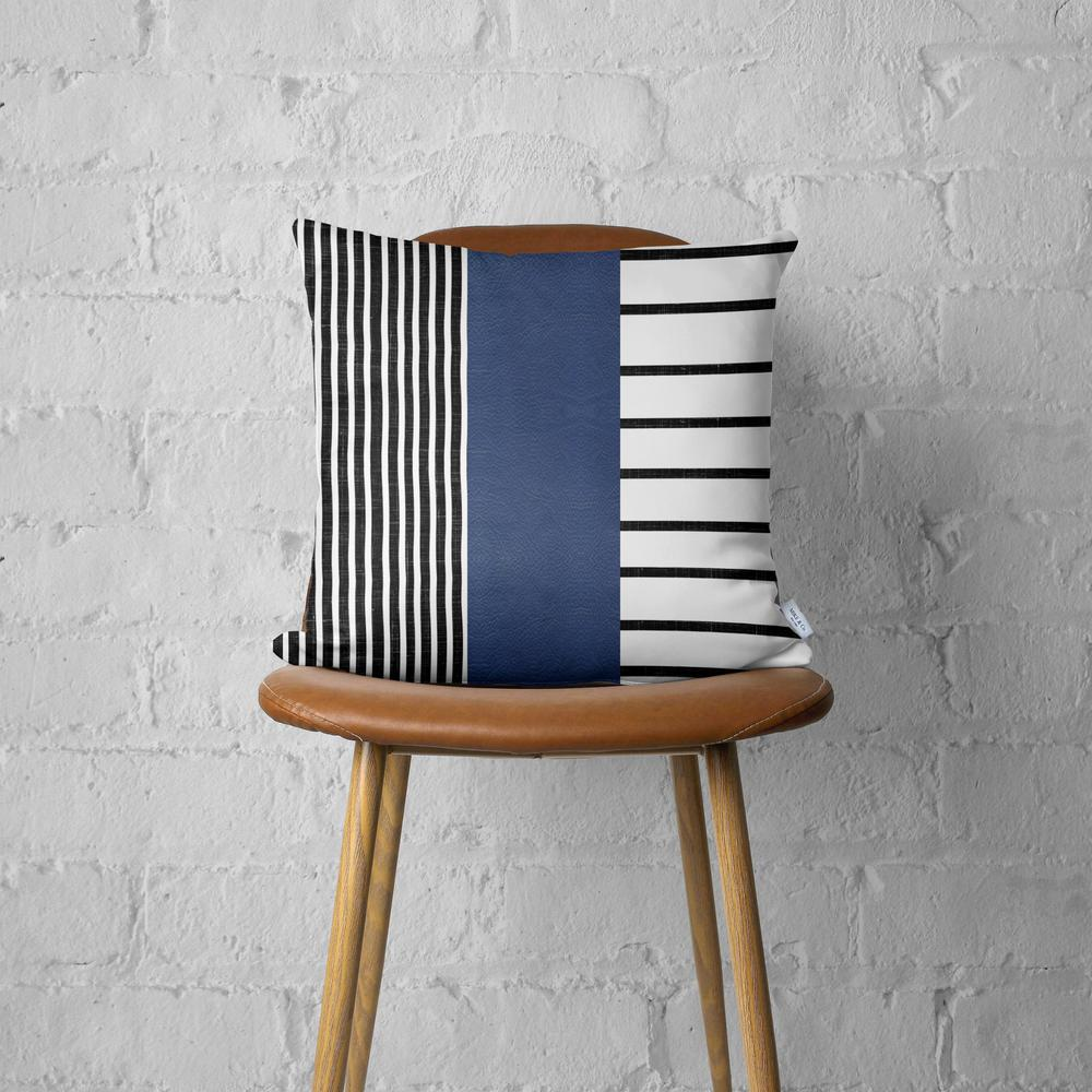 Traditional Navy Blue Faux Leather and Monochromatic Stripes Lumbar Pillow Cover - 386784. Picture 4