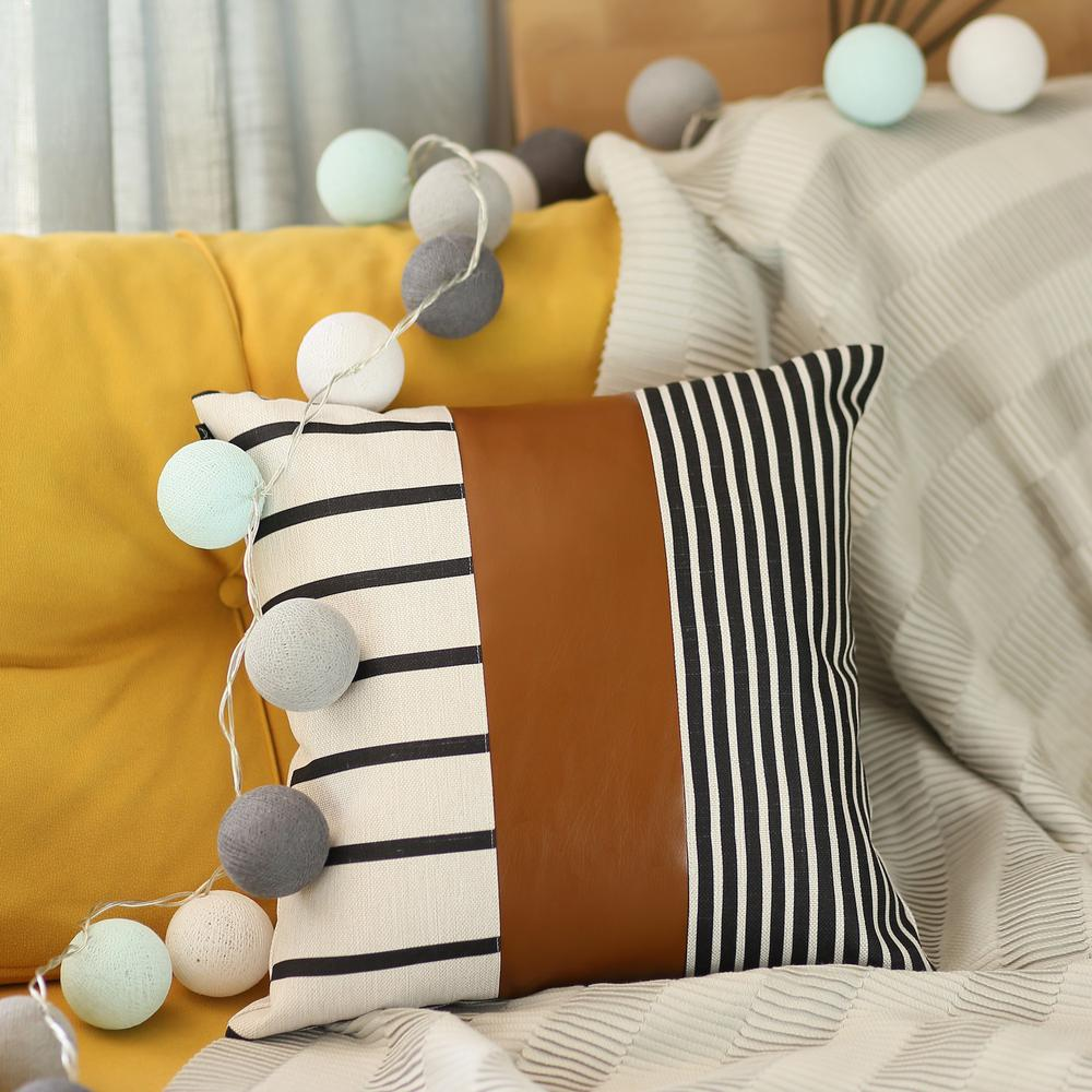 Faux Leather and Monochromatic Stripes Decorative Pillow Cover - 386785. Picture 2