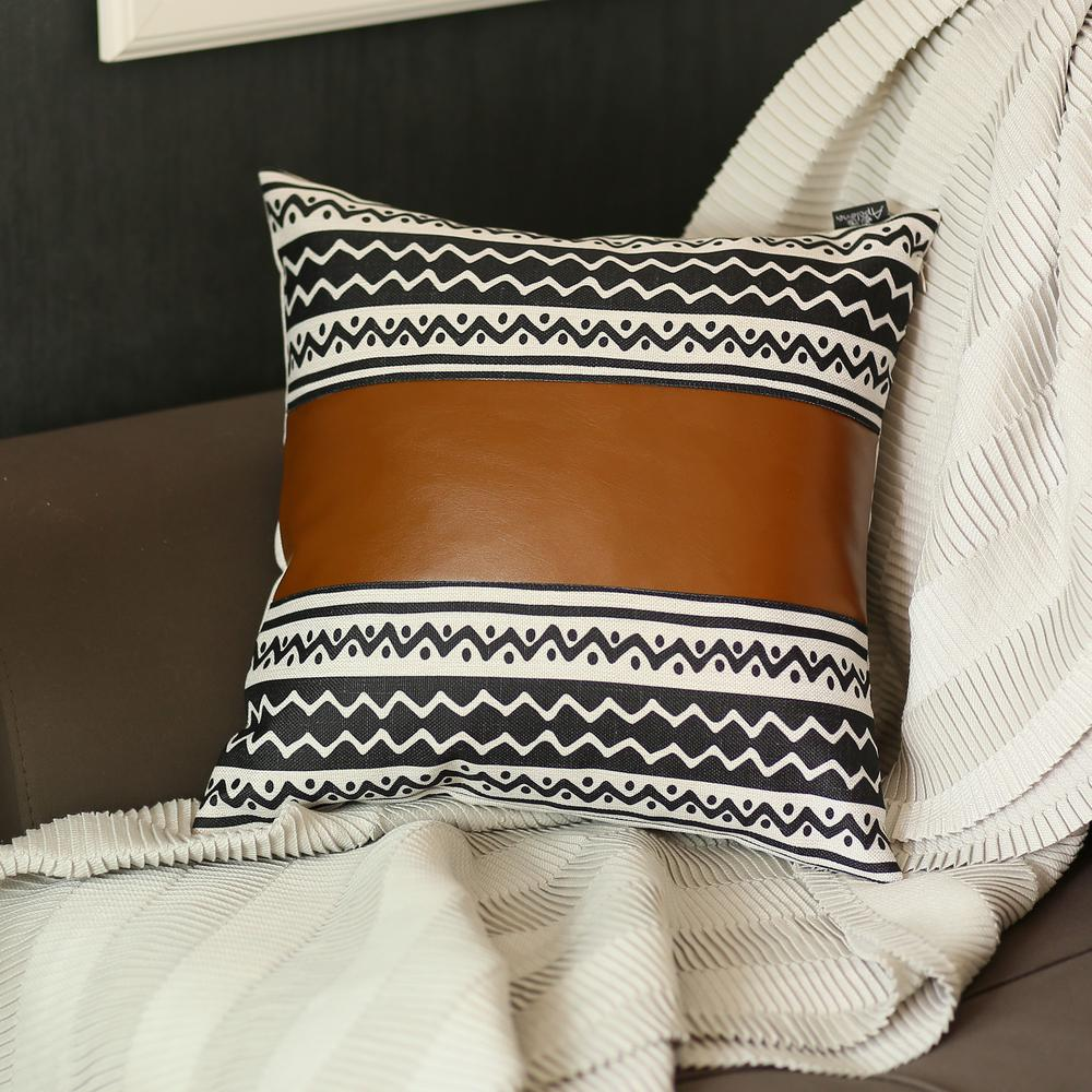 Brown Faux Leather and Zigzag Decorative Pillow Cover - 386786. Picture 1