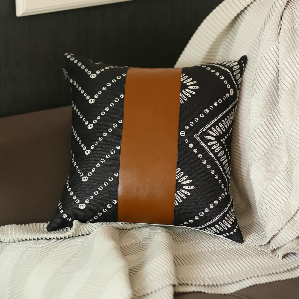 Black and White Pearl Geo with Brown Faux Leather Pillow Cover - 386787. Picture 1