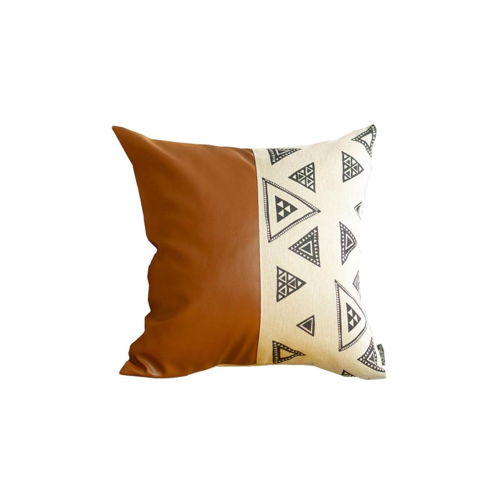 Playful Triangle and Brown Faux Leather Pillow Cover - 386788. Picture 1