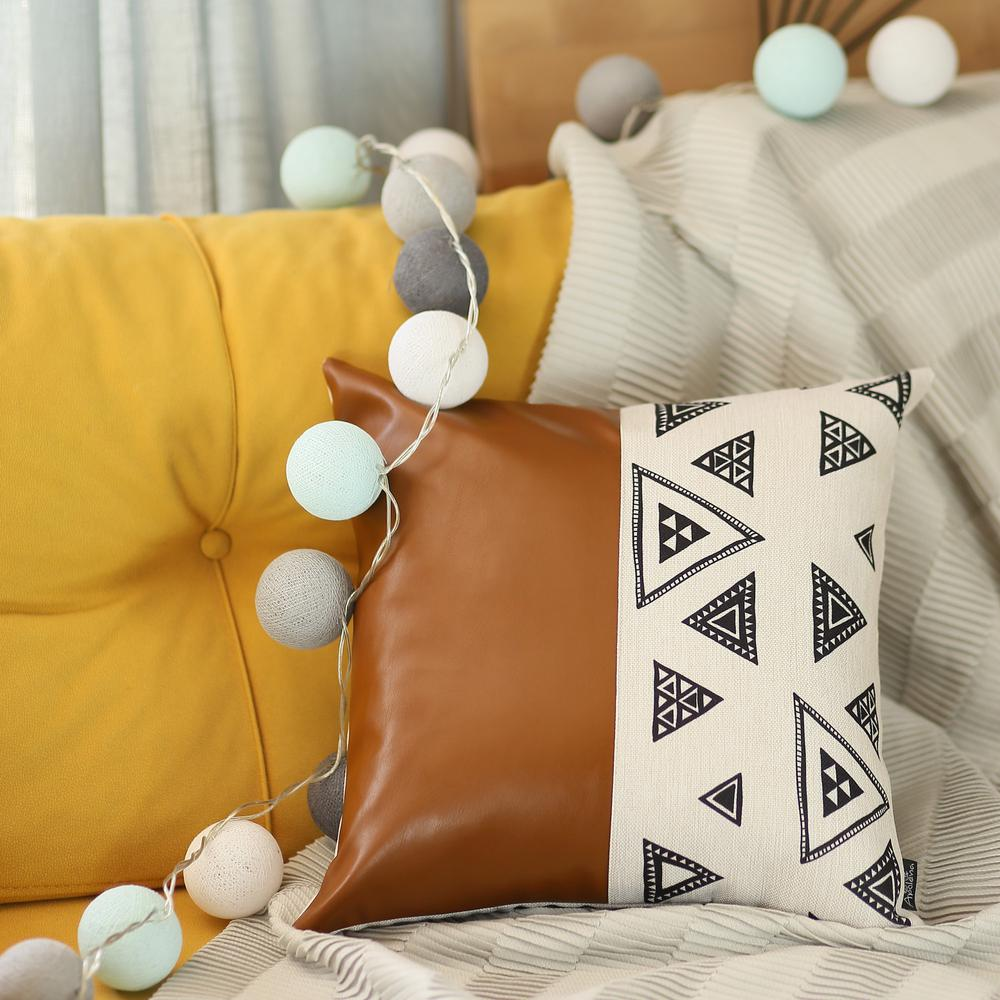 Playful Triangle and Brown Faux Leather Pillow Cover - 386788. Picture 2