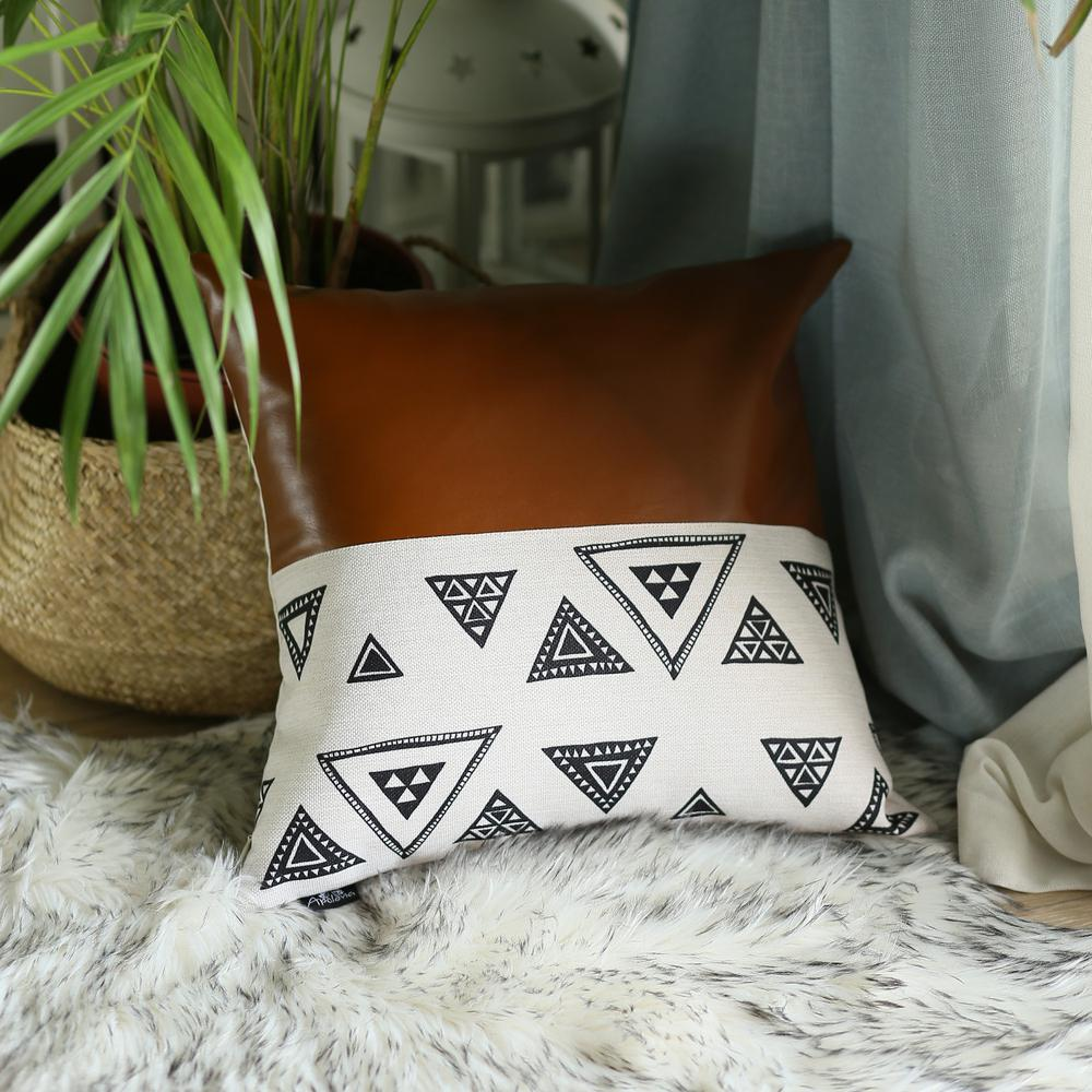 Playful Triangle and Brown Faux Leather Pillow Cover - 386788. Picture 3
