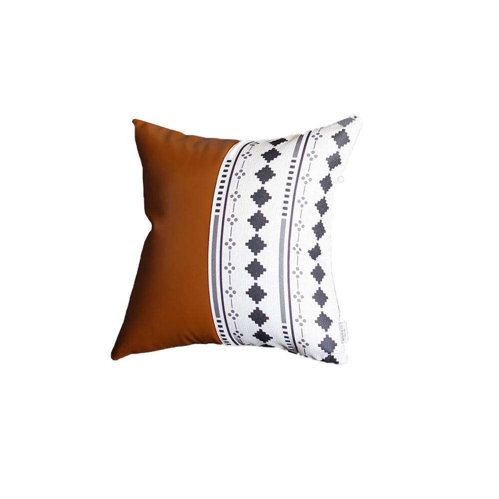 Monochromic Diamond and Brown Faux Leather Pillow Cover - 386789. Picture 1