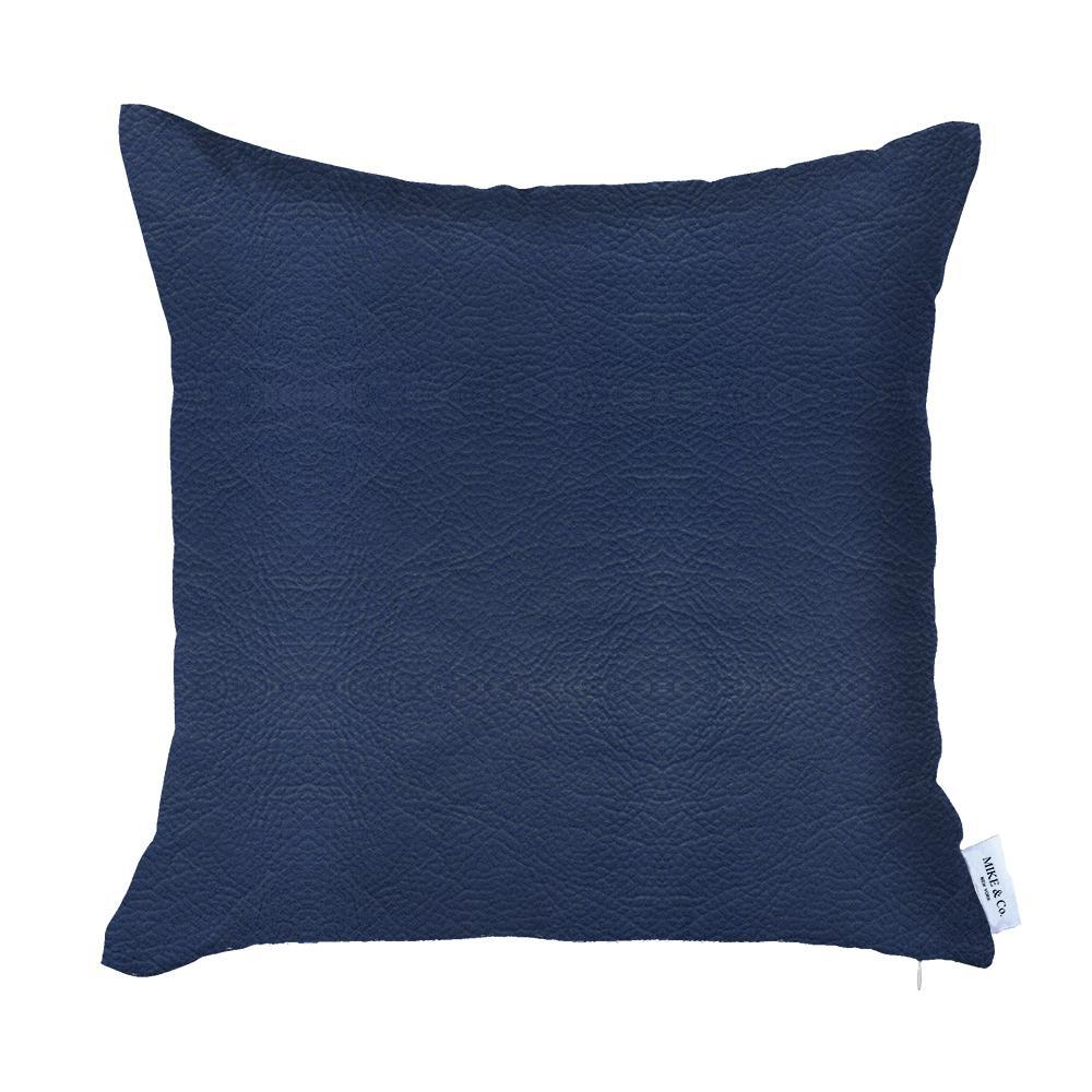 Solid Navy Blue Faux Leather Decorative Pillow Cover - 386790. Picture 1