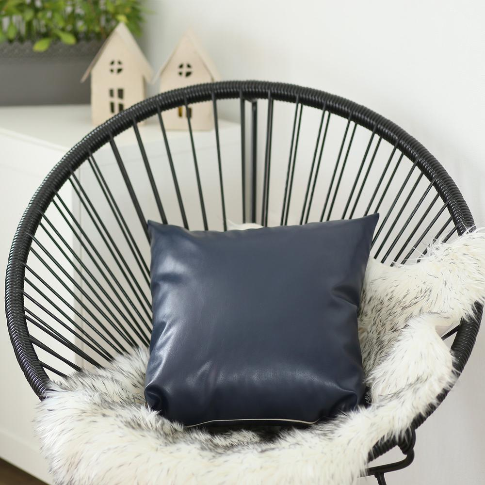 Solid Navy Blue Faux Leather Decorative Pillow Cover - 386790. Picture 3