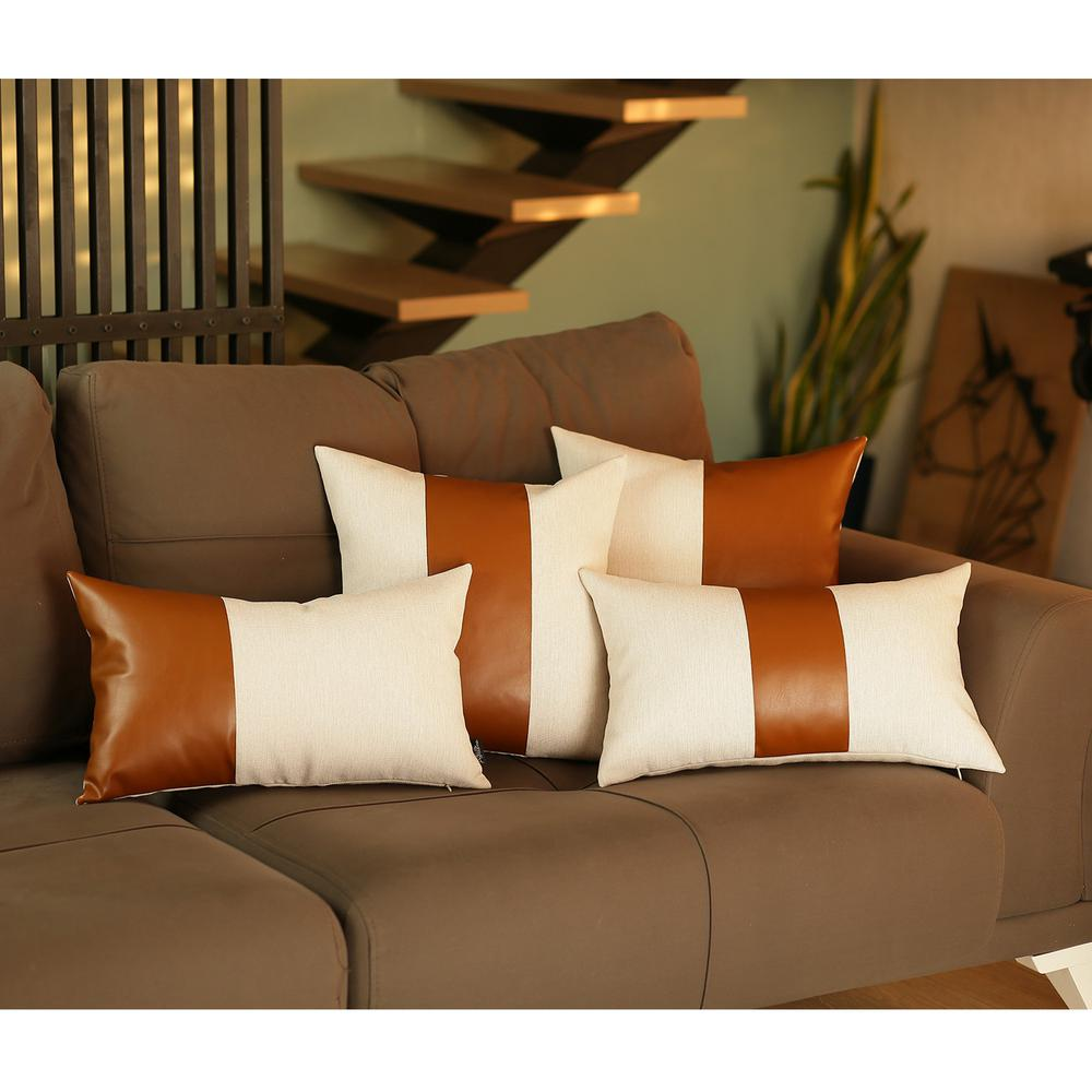 White and Brown Faux Leather Lumbar Decorative Pillow Cover - 386793. Picture 1