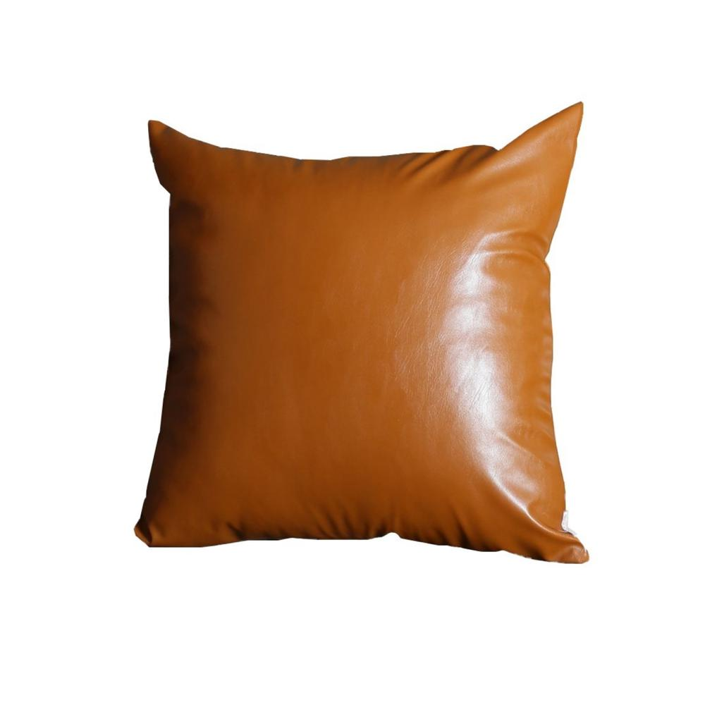 """20"""" x 20"""" Solid Brown Faux Leather Decorative Pillow Cover - 386796. Picture 1"""