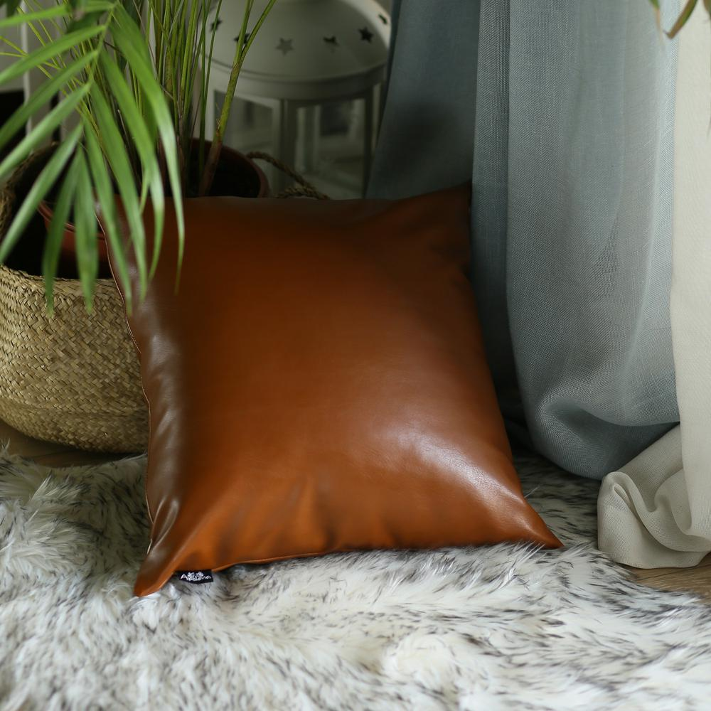 """20"""" x 20"""" Solid Brown Faux Leather Decorative Pillow Cover - 386796. Picture 4"""