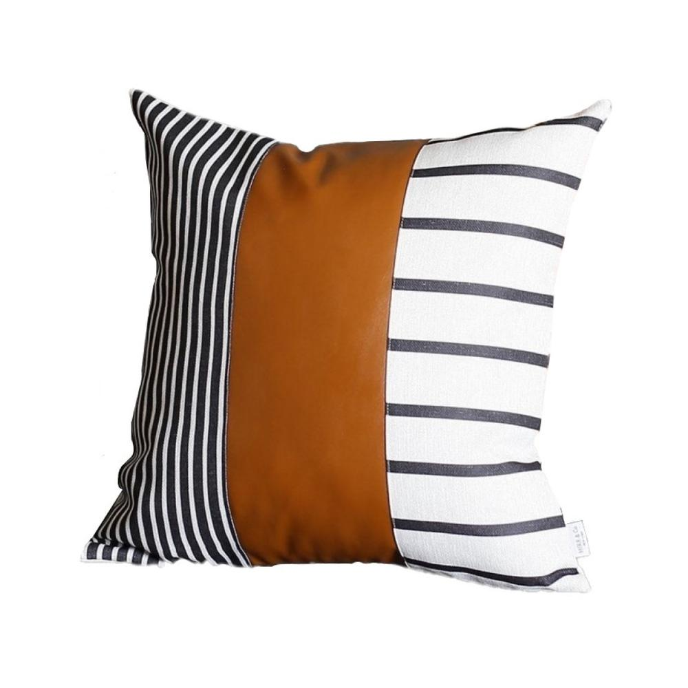 """20"""" x 20"""" Black and White Stripes and Faux Leather  Pillow Cover - 386797. Picture 1"""