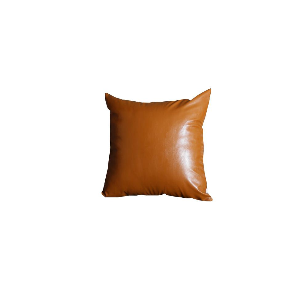 XL Rustic Brown Faux Leather Lumbar Pillow Cover - 386798. Picture 1