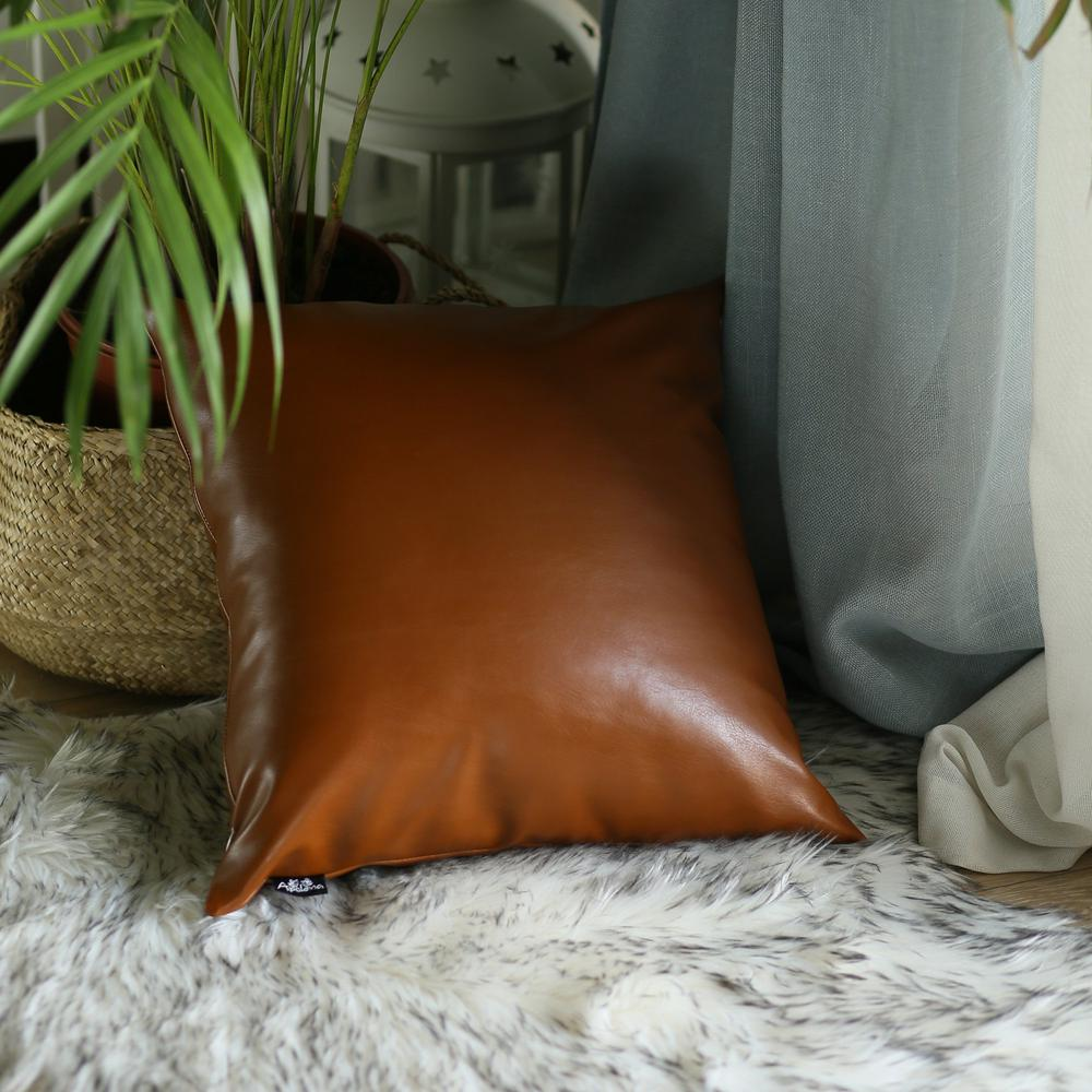 XL Rustic Brown Faux Leather Lumbar Pillow Cover - 386798. Picture 4