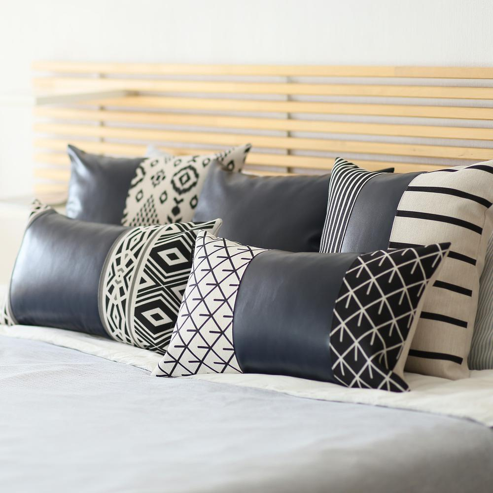 Set of 2 Half Bohemian Patterns and Prussian Blue Faux Leather Lumbar Pillow Covers - 386807. Picture 1