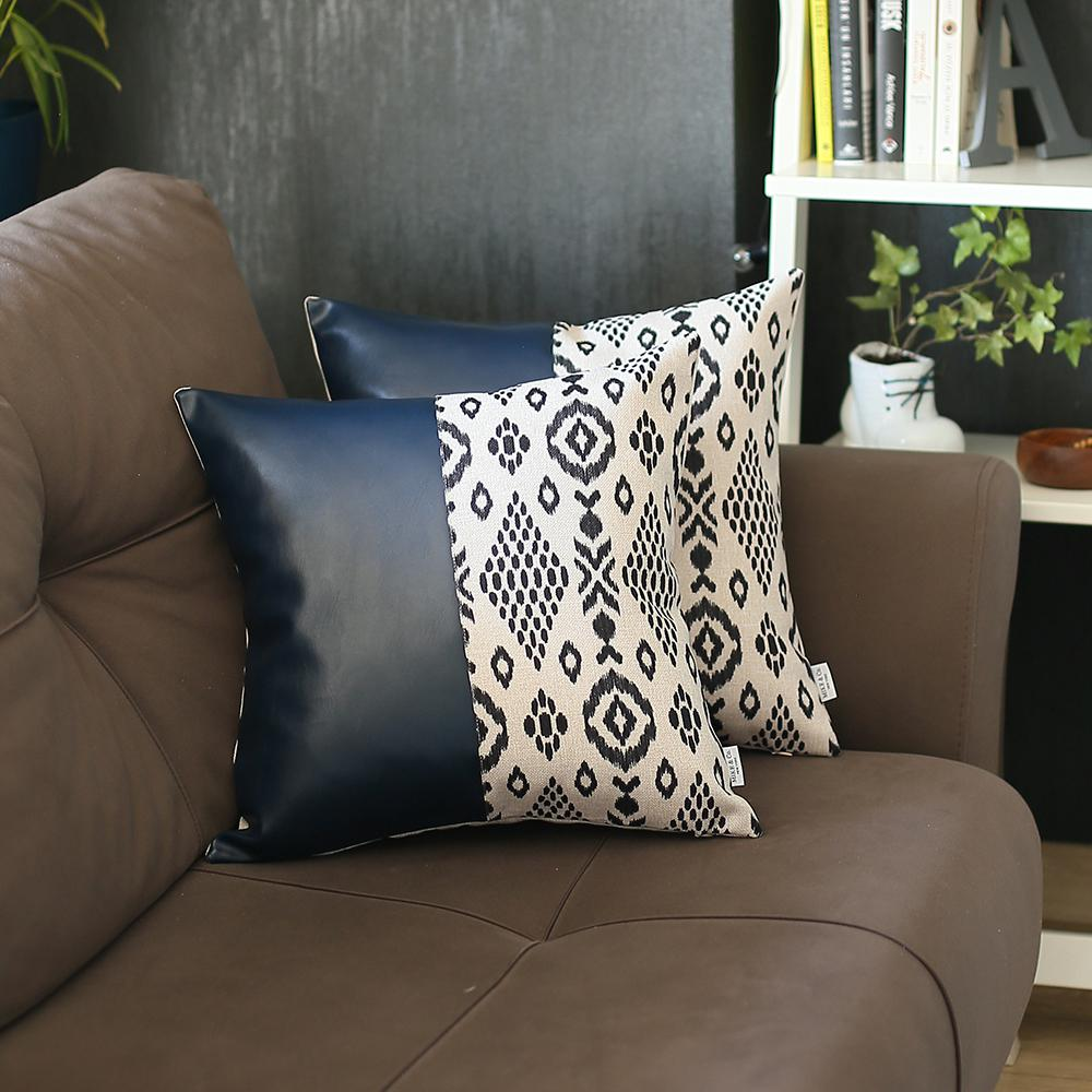 Set of 2 Half Bohemian Patterns and Prussian Blue Faux Leather Lumbar Pillow Covers - 386807. Picture 2