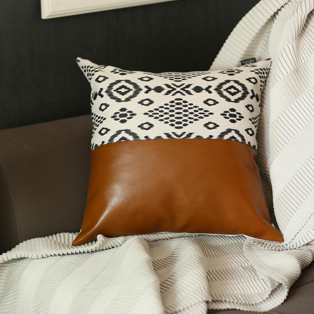 Set of 2 Semi Brown Faux Leather and Eclectic Geometric Patterns Pillow Covers - 386808. Picture 1
