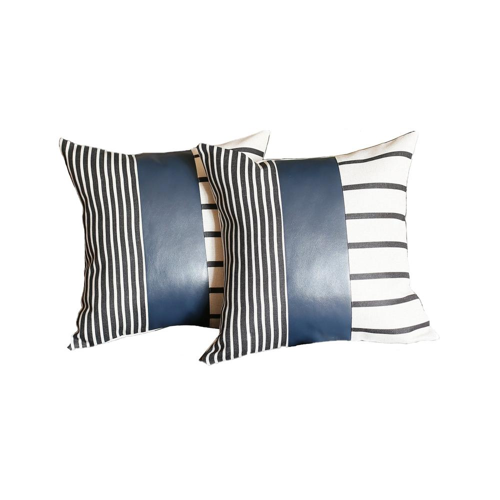 Set of 2 Monochromic Stripe Ends and Spruce Blue Faux Leather Lumbar Pillow Covers - 386811. Picture 1