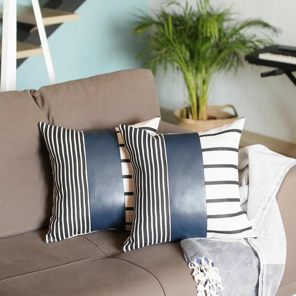 Set of 2 Monochromic Stripe Ends and Spruce Blue Faux Leather Lumbar Pillow Covers - 386811. Picture 3