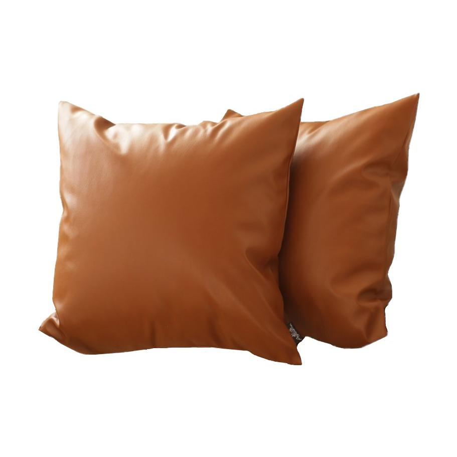 Set of 2 Warm-toned Solid Brown Faux Leather Pillow Covers - 386813. Picture 1
