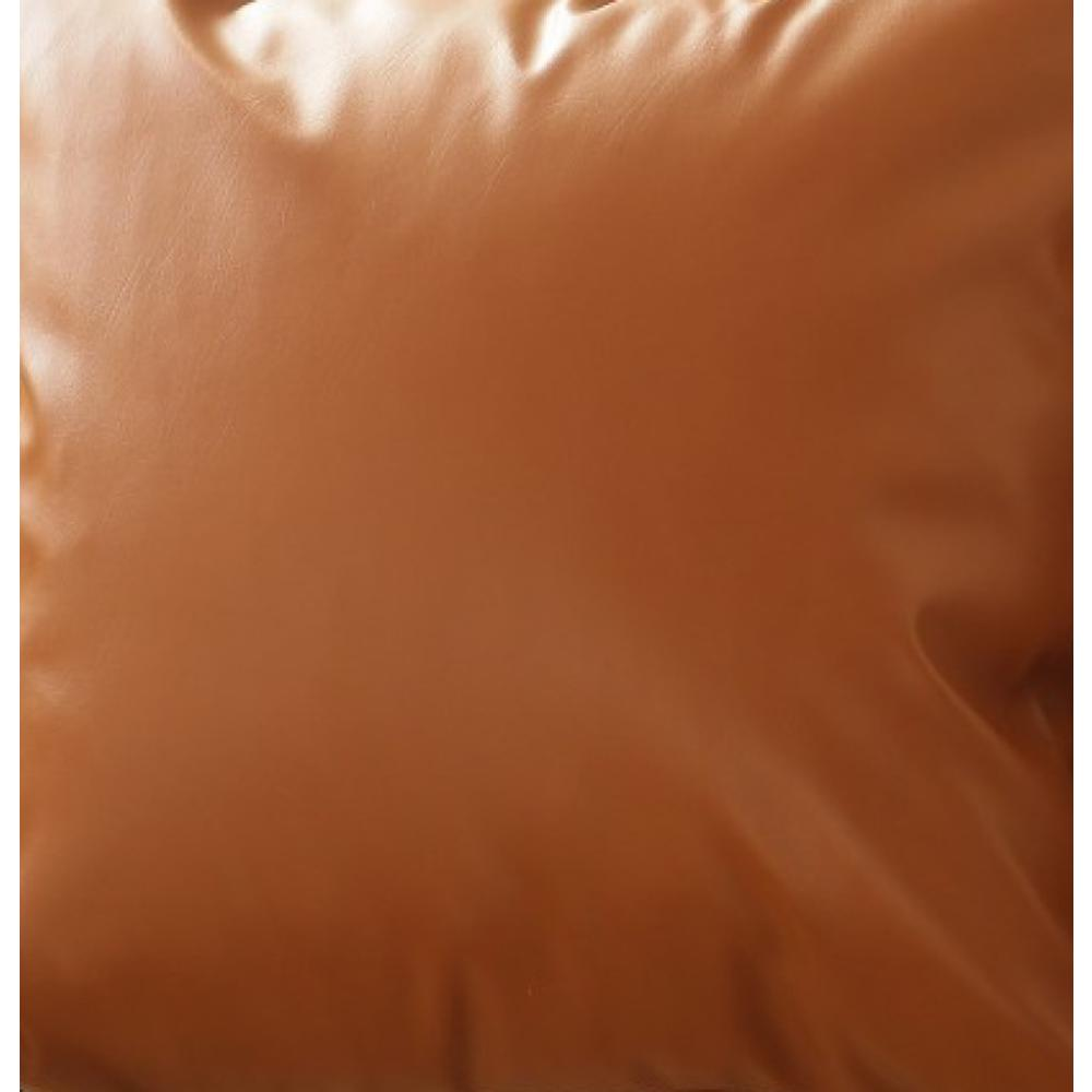 Set of 2 Warm-toned Solid Brown Faux Leather Pillow Covers - 386813. Picture 2