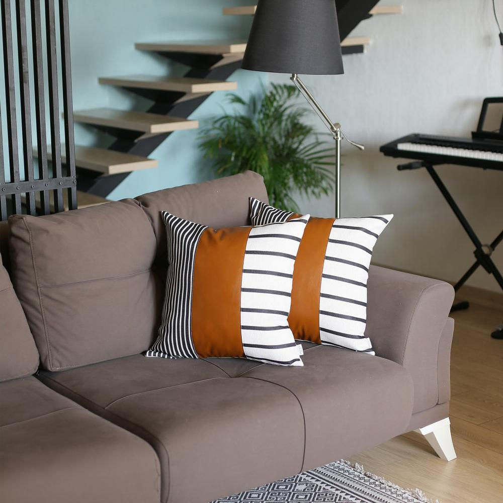 Set of 2 Monochromic Stripe Ends and Brown Faux Leather Lumbar Pillow Covers - 386814. Picture 1
