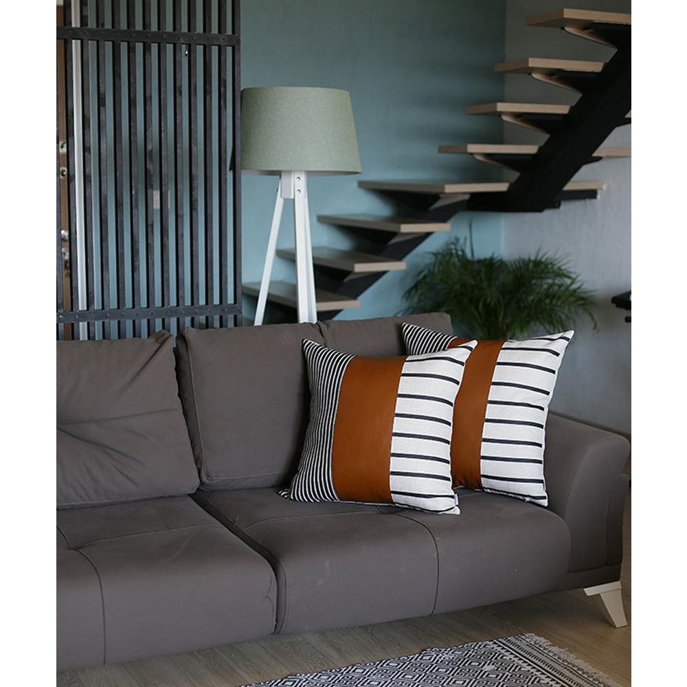 Set of 2 Monochromic Stripe Ends and Brown Faux Leather Lumbar Pillow Covers - 386814. Picture 2