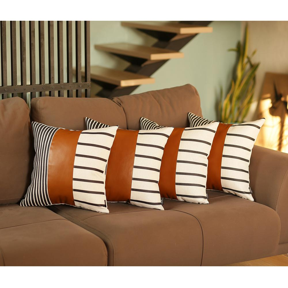 Set of 4 Blue and White Stripes with Faux Leather Pillow Covers - 386816. Picture 2