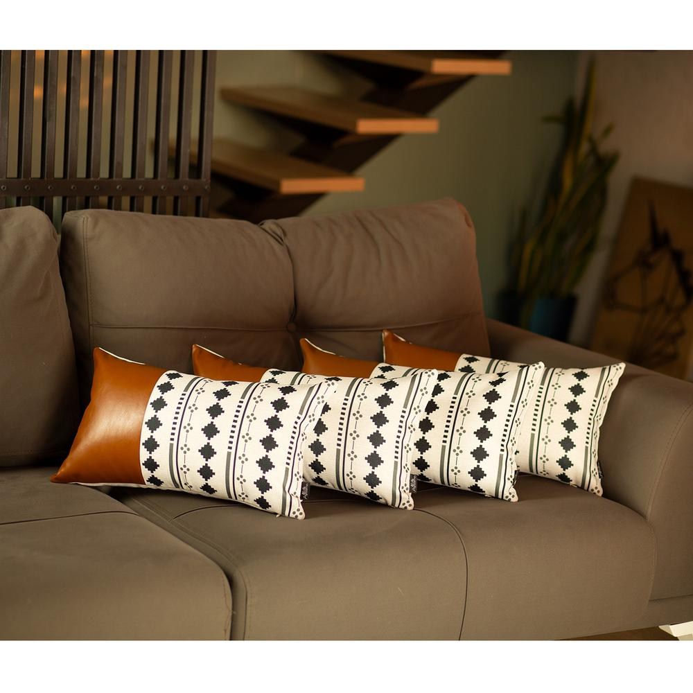 Set of 4 Black and White Diamond Lumbar Pillow Covers - 386824. Picture 2