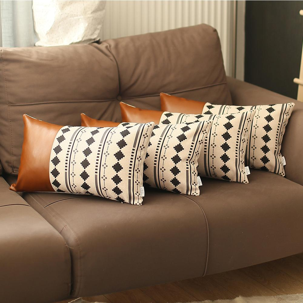Set of 4 Black and White Diamond Lumbar Pillow Covers - 386824. Picture 3
