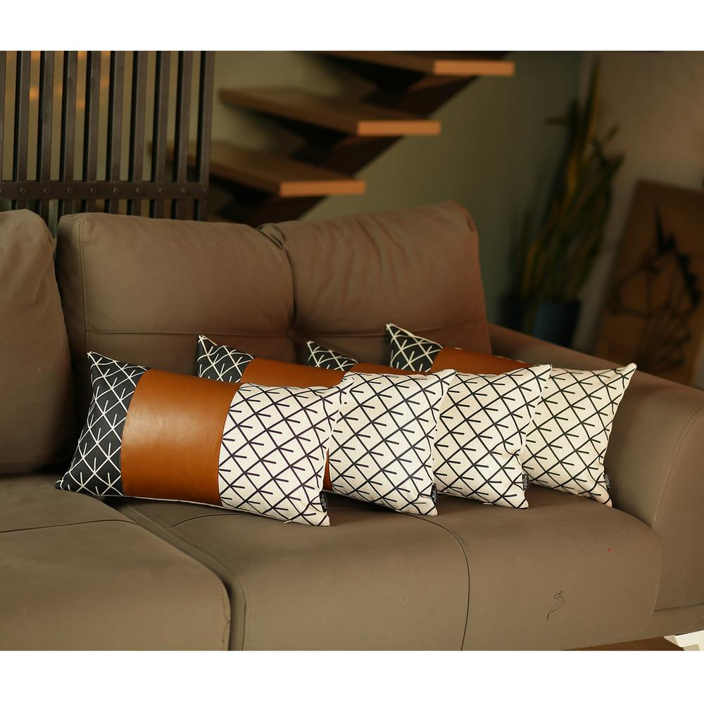 Set of 4 Black and White Reverse with Faux Leather Lumbar Pillow Covers - 386825. Picture 2