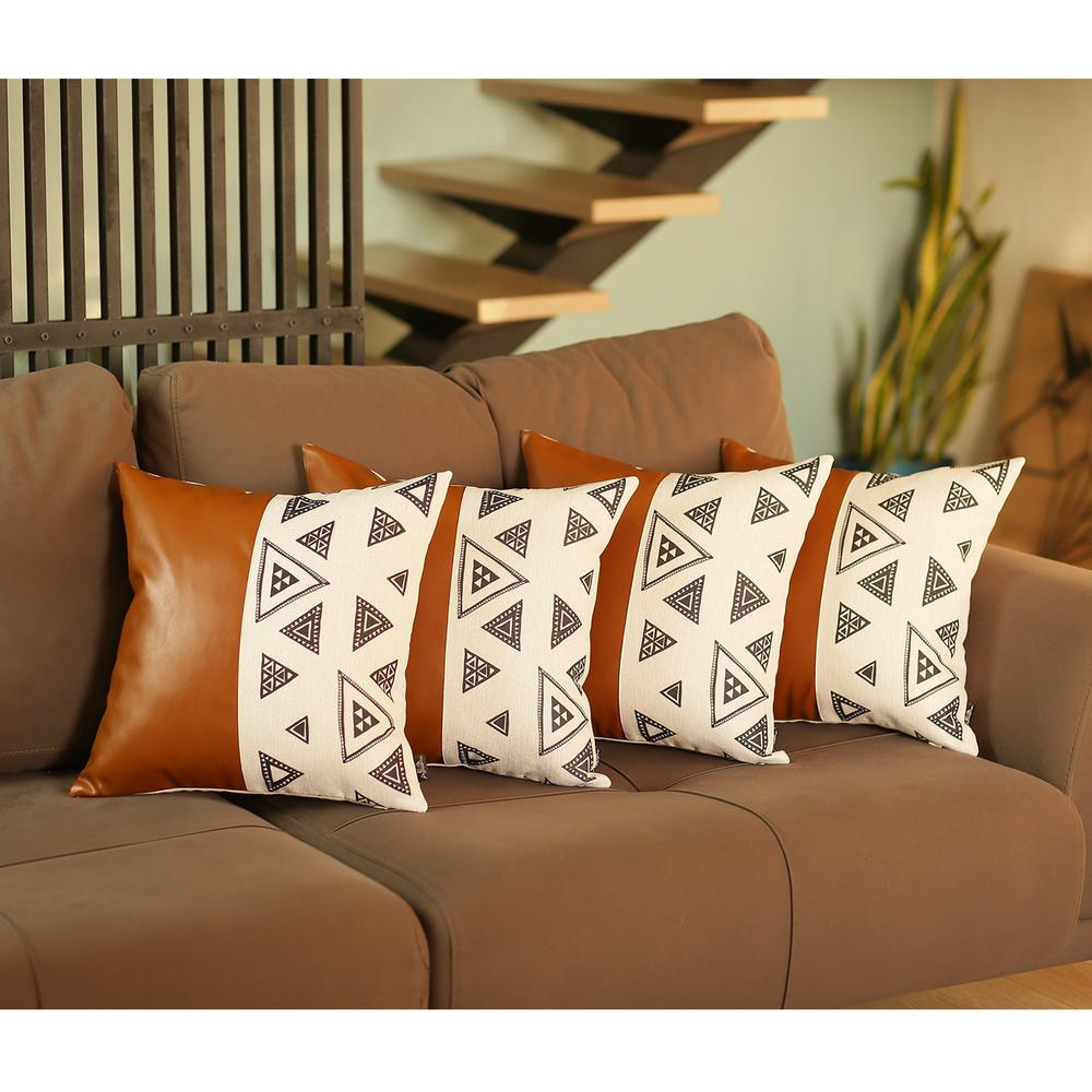 Set of 4 Triangle and Brown Faux Leather Pillow Covers - 386828. Picture 1