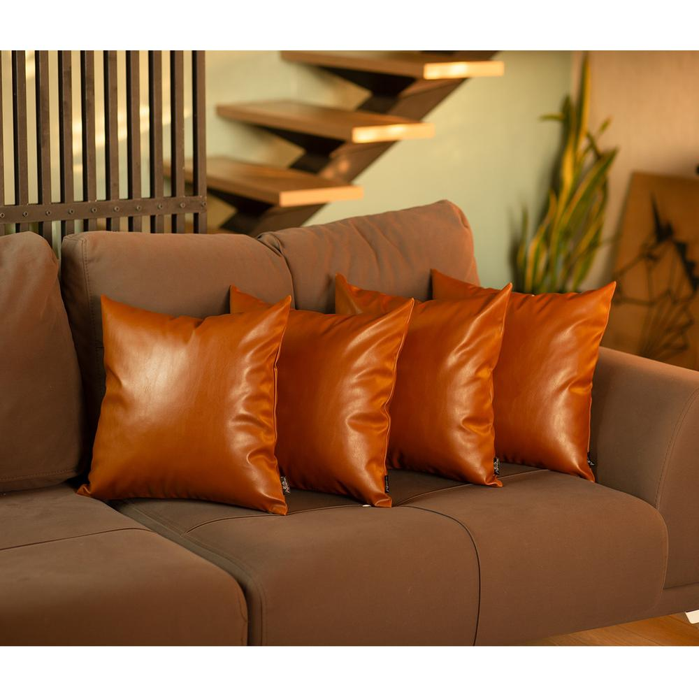 """Set of 4 Brown Faux Leather 20"""" Pillow Covers - 386829. Picture 1"""