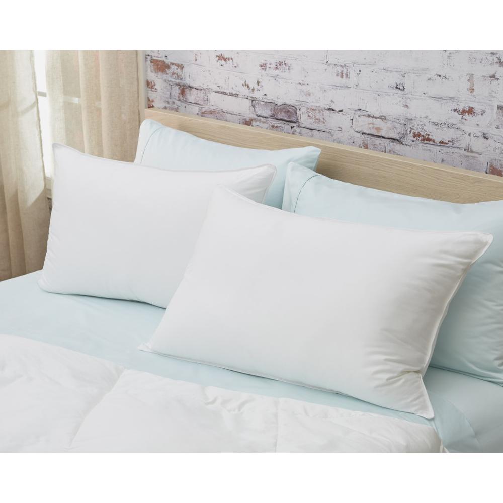 Set of 2 Lux Sateen Down Alternative Queen Size Medium Pillows - 387819. Picture 1