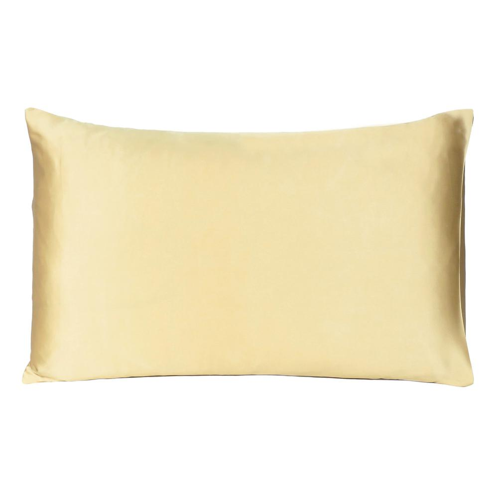 Gold Dreamy Set of 2 Silky Satin King Pillowcases - 387840. Picture 3