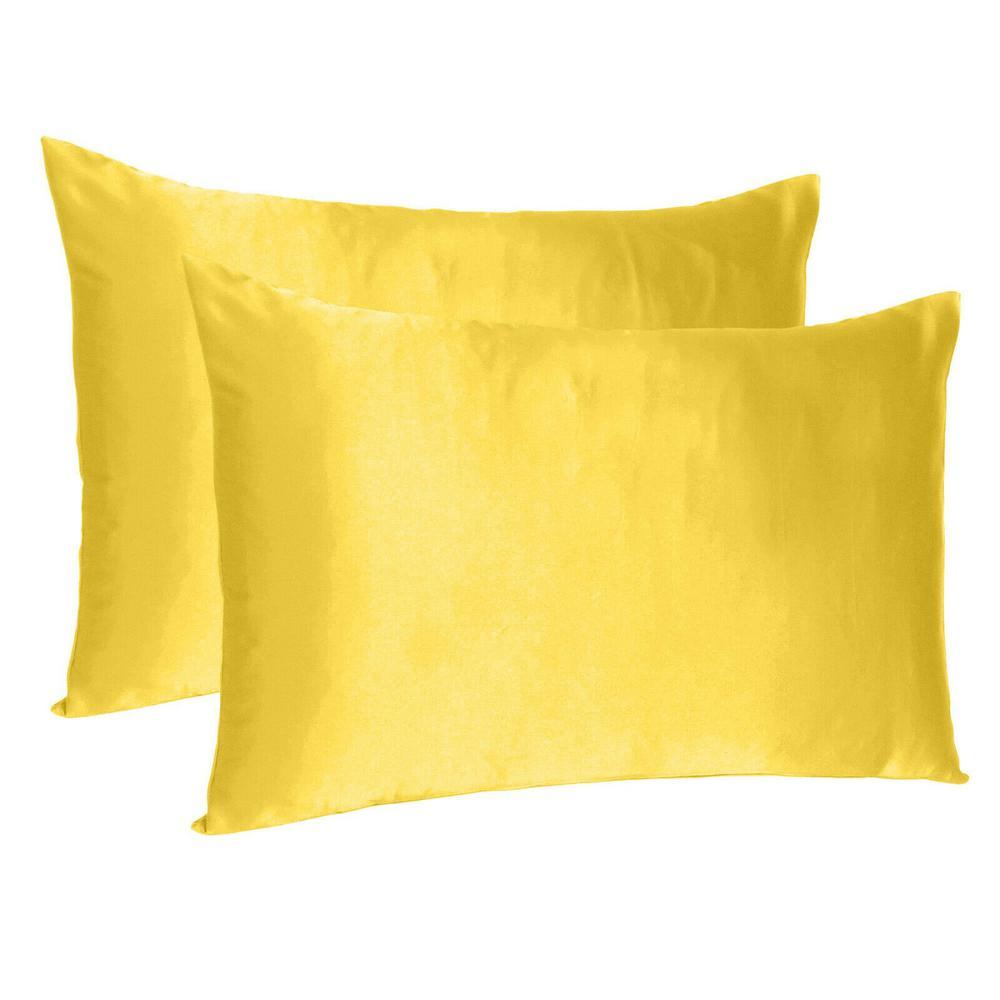 Lemon Dreamy Set of 2 Silky Satin King Pillowcases - 387841. Picture 1
