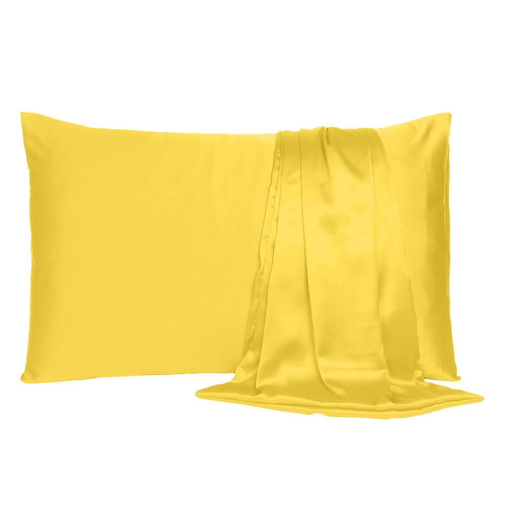 Lemon Dreamy Set of 2 Silky Satin King Pillowcases - 387841. Picture 2