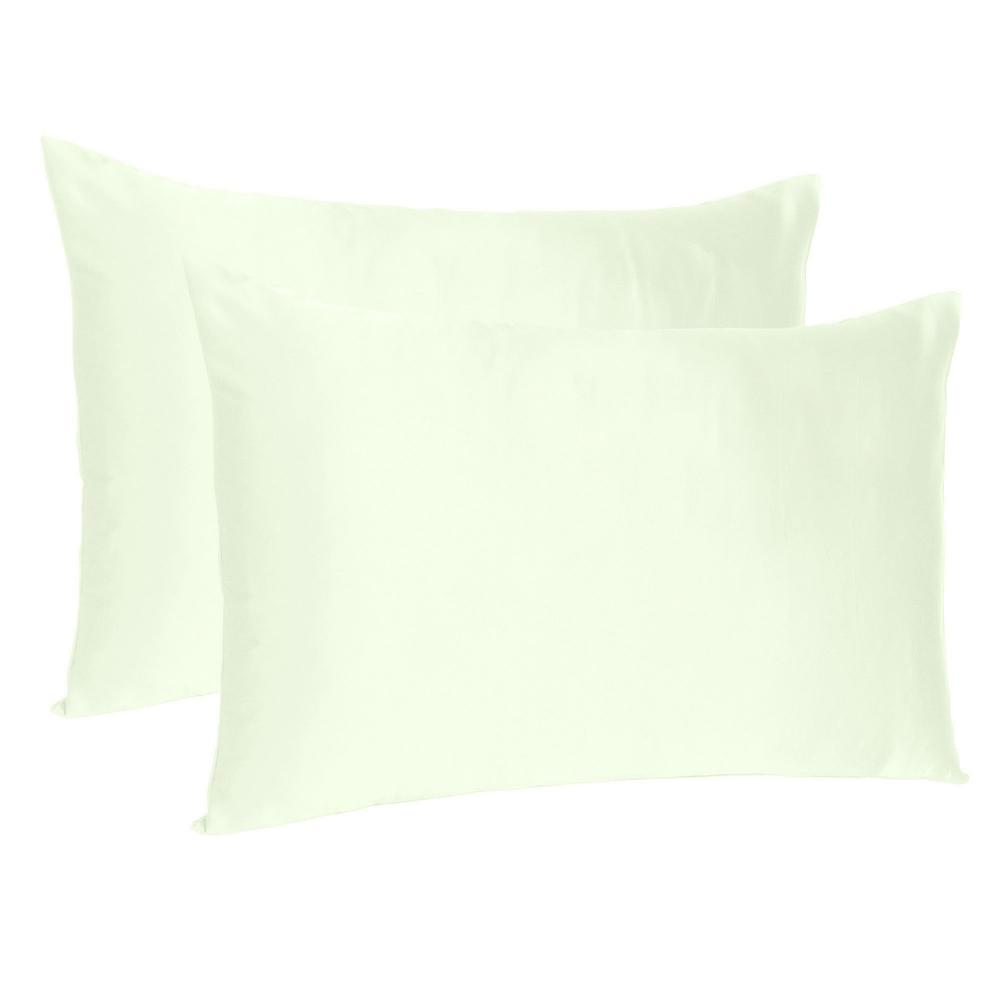 Ivory Dreamy Set of 2 Silky Satin King Pillowcases - 387854. Picture 1