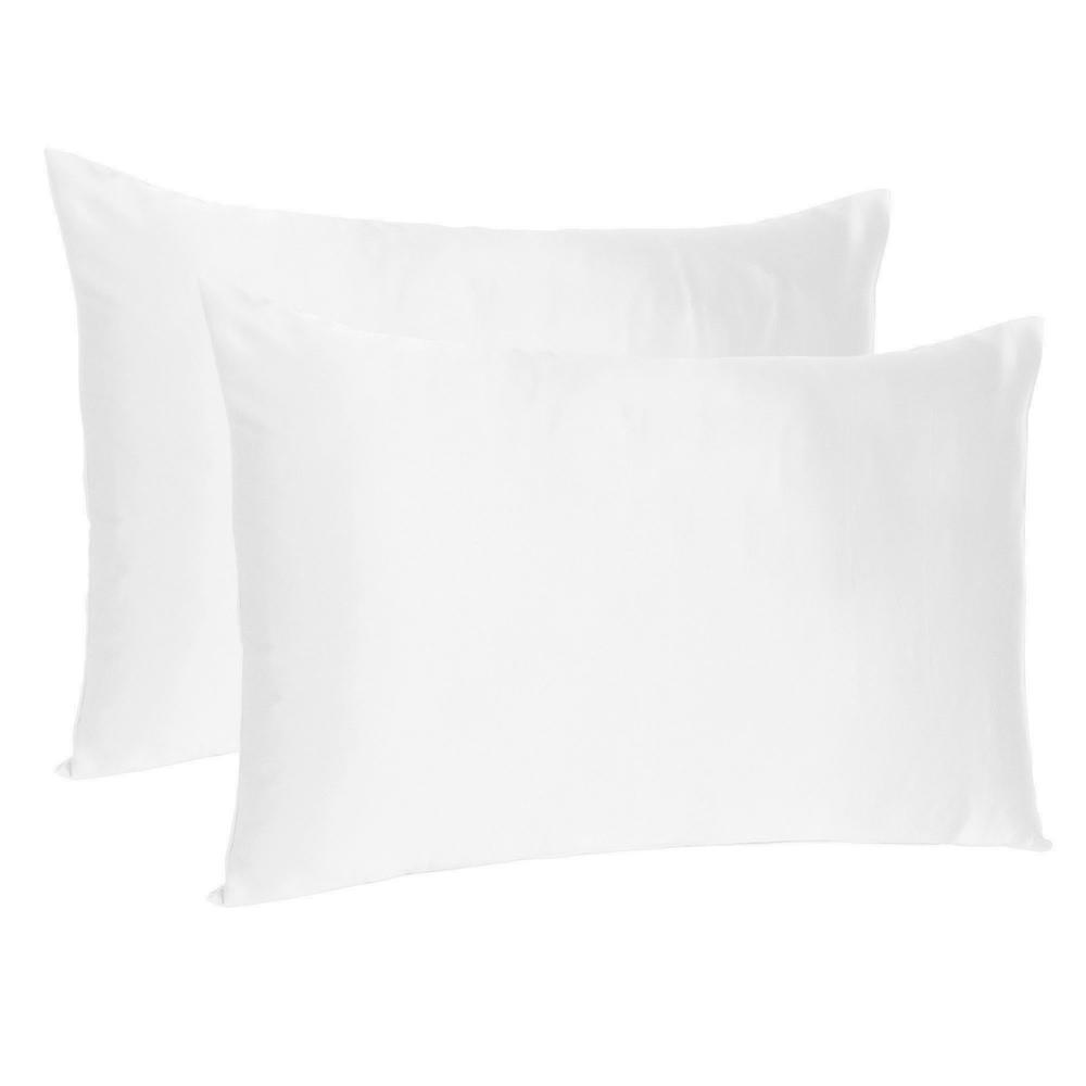 White Dreamy Set of 2 Silky Satin Standard Pillowcases - 387858. Picture 1