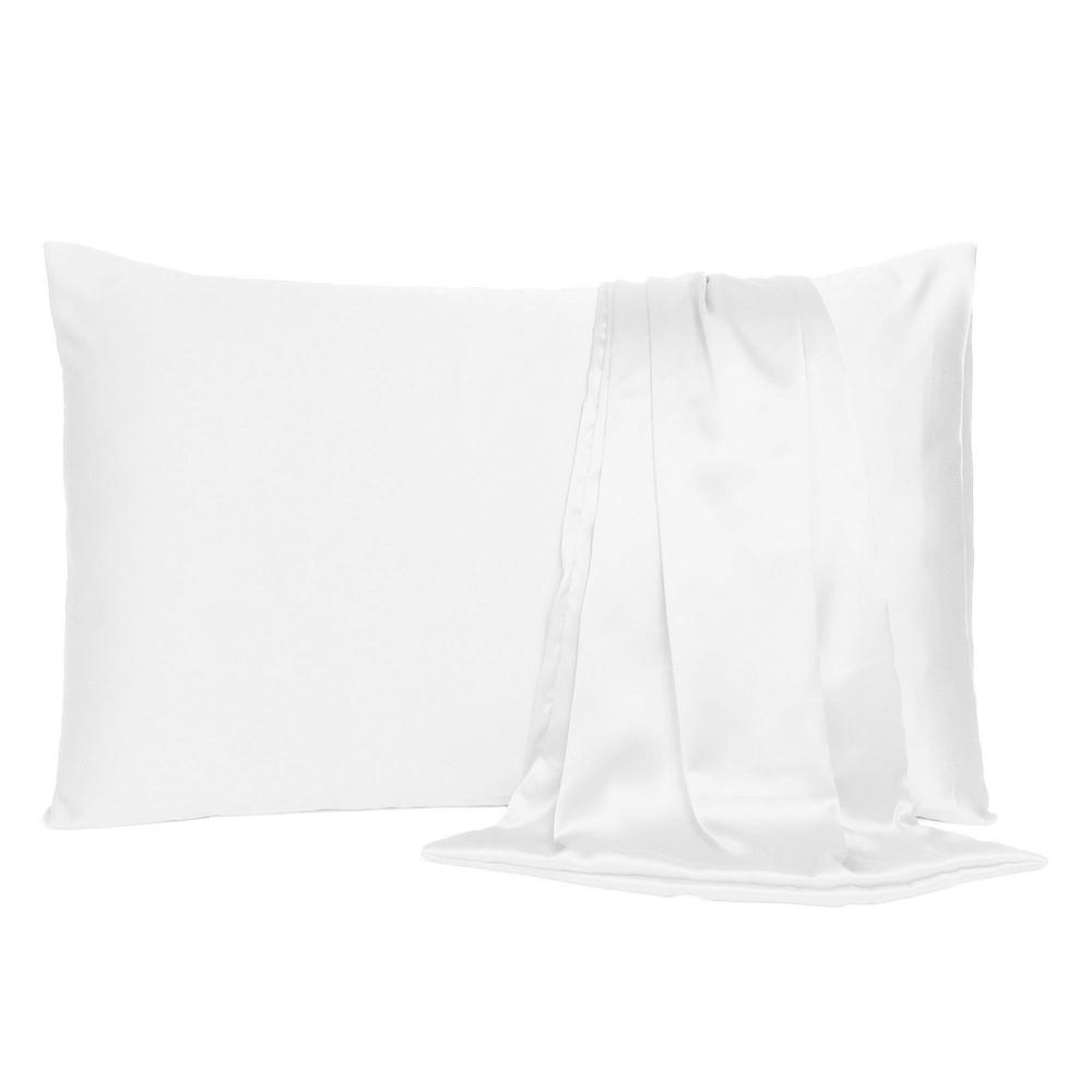 White Dreamy Set of 2 Silky Satin Standard Pillowcases - 387858. Picture 2