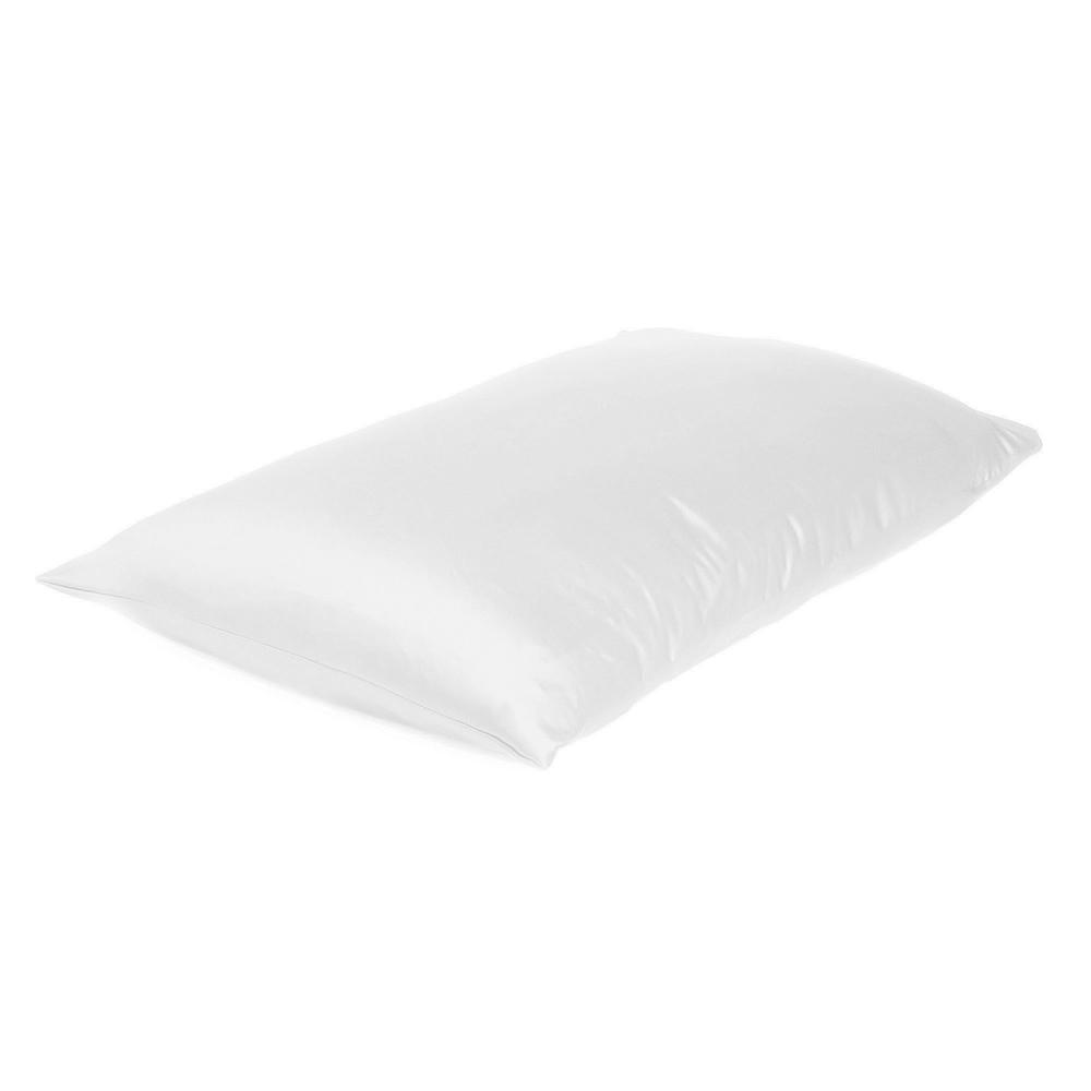 White Dreamy Set of 2 Silky Satin Standard Pillowcases - 387858. Picture 4