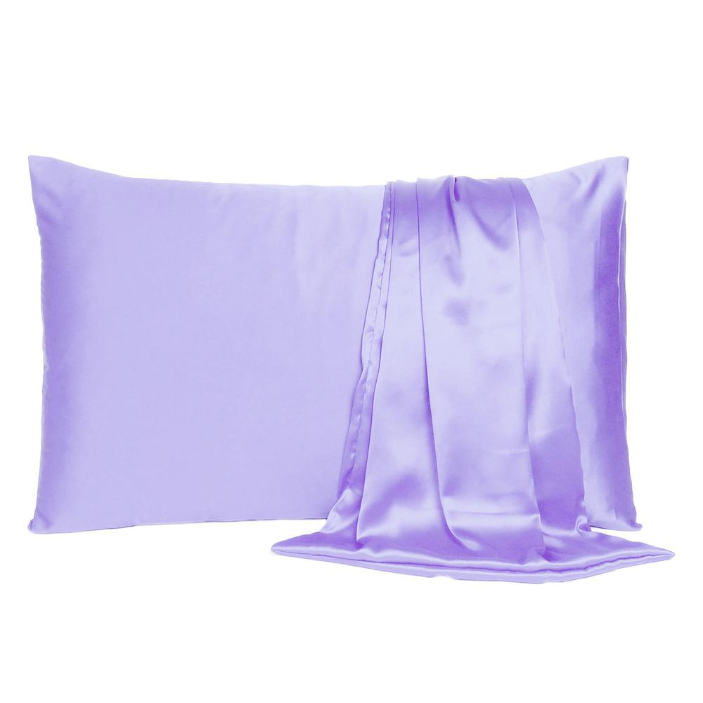 Purple Dreamy Set of 2 Silky Satin Standard Pillowcases - 387862. Picture 2