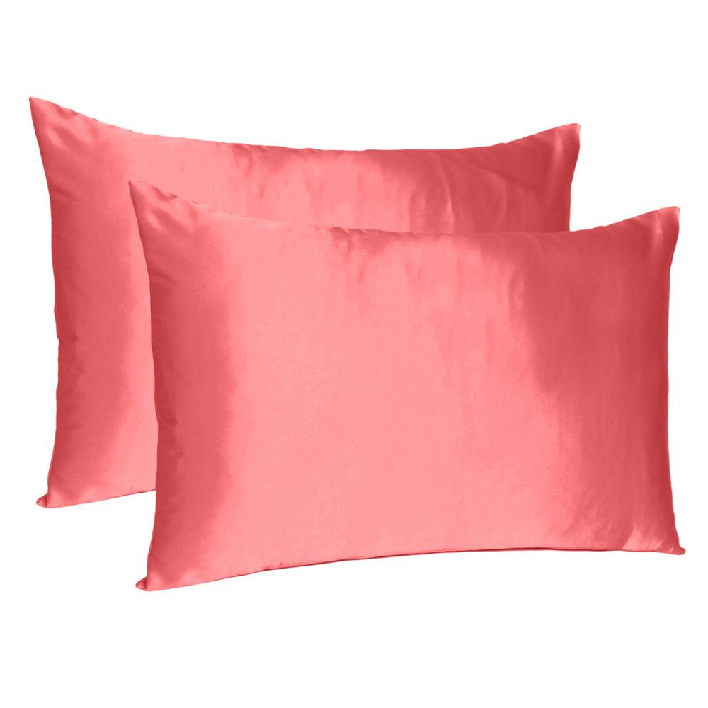 Coral Dreamy Set of 2 Silky Satin Standard Pillowcases - 387863. Picture 1