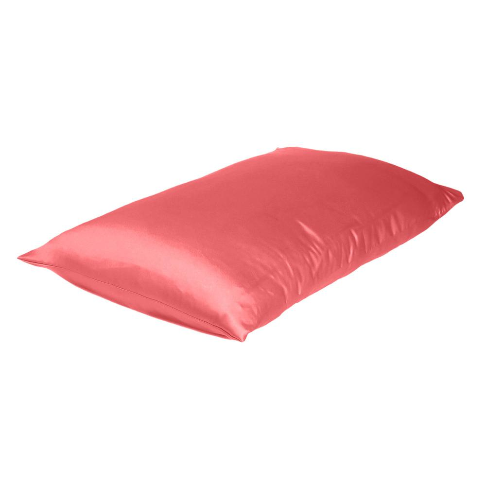 Coral Dreamy Set of 2 Silky Satin Standard Pillowcases - 387863. Picture 4