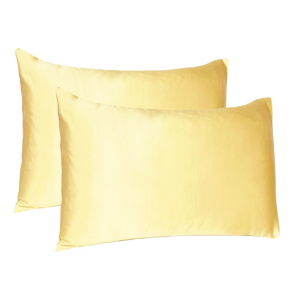 Gold Dreamy Set of 2 Silky Satin Standard Pillowcases - 387865. Picture 1